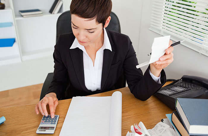 account checking receipts at desk